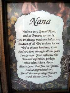 Nana Motto Poem Framed in Dark Wood 5 1/2 x 7 1/4