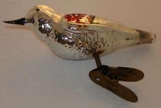 JV207 Vtg Bird Clip On Glass Christmas Xmas Ornament