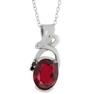 2.64 Ct Red Mystic Quartz Black Diamonds Silver Pendant Jewelry