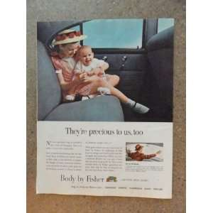 Body by Fisher, Vintage 50s full page print ad.(girl and baby in back