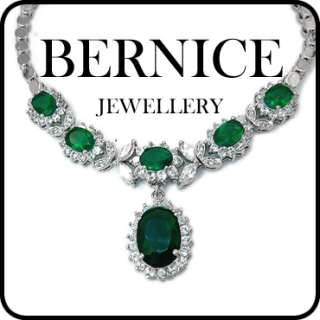 CHRISTMAS GIFT JEWELRY GREEN EMERALD WHITE GOLD GP PENDANT NECKLACE