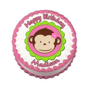 MOD MONKEY PINK Edible Cake Image Party Decoration