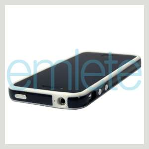 Apple iPhone 4 4G 4S White+Black Bumper Case Metal Buttons AT&T