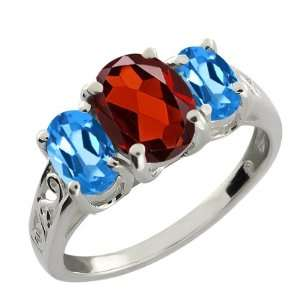 50 Ct Checkerboard Red Garnet and London Blue Topaz Argentium Silver