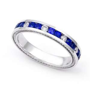 14k White Gold Channel set Diamond and Blue Sapphire Wedding Band Ring