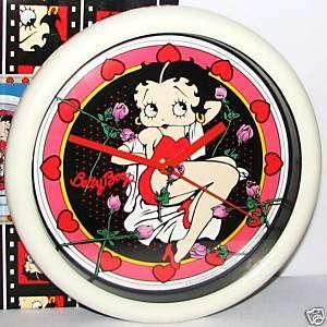 BETTY BOOP~1995 Vandor Clock~Bed of Roses Figure~MIB