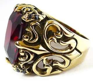 RUBY GOTHIC KNIGHT GOLD BRASS RING Sz 11 NEW PUNK ROCK EMO BIKER GOTH