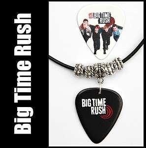 Big Time Rush Guitar Pick Black Leather Necklace +Pick