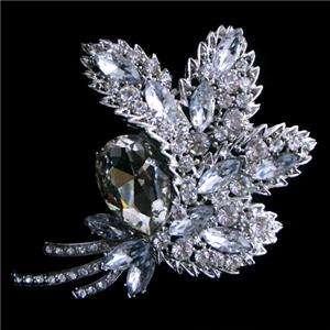 Flower Leaf Brooch Pin w Clear Swarovski Crystal Bridal