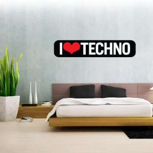I Love Techno black Wall Decal 25 x 5 Everything Else
