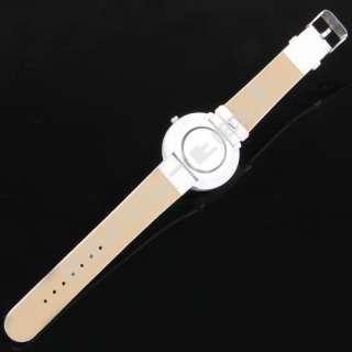 White Fashion Bracelet Band Big Dial Quartz Wrist Watch
