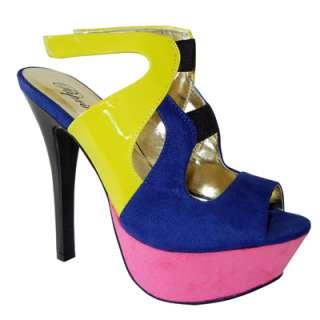 Stylish Sexy Color Blocked Suede Patent Mix Ankle Strap Platform Heel