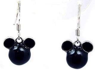 Girls Disney Crystal Minnie Mouse Black Enaml Earrings
