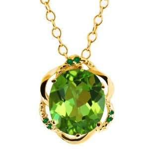 4.19 Ct Envy Green Oval Mystic Quartz and Diamond 18k