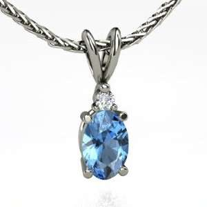 Pendant, Oval Blue Topaz 14K White Gold Necklace with Diamond Jewelry