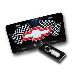 Chevy Checkered Flag Bowtie License Plate (with Key Chain