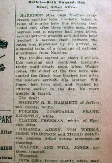 1913 newspaper LYNCHING of 2 NEGRO BOYS at HARRISON Mississippi after