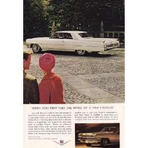 1964 Ad White Cadillac Motor Car Coupe Deville Original