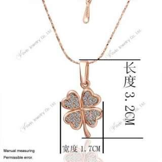 18K Rose Gold Swarovski Crystal GP Clover Earring Neckalce Set K001