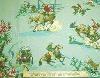 WESTERN RODEO SCENES ON PALE BLUE BACKGROUND 4 PIECES