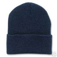 NAVY BLUE KNIT LONG WATCH CAP CUFFED SKI BEANIE HAT