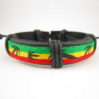 Popular Hot Reggae Bob Marley Rasta Hiphop Leather Bracelet