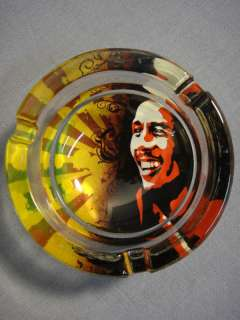 BOB MARLEY PROFILE IN RASTA COLORS ART DESIGN 3 GLASS ASHTRAY NEW