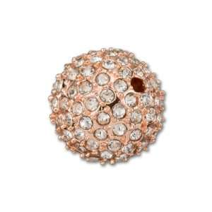 Rose Gold Plated Crystal Round Pavé Bead, 14mm Arts
