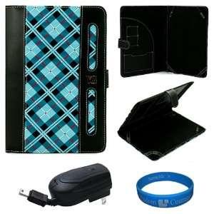 Blue Plaid Executive Leather Folio Case Cover for Lenovo IdeaPad A1