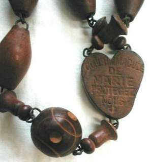 ANTIQUE FRENCH ROSARY HUGE CARVED WOOD LACHET SOUVENIR