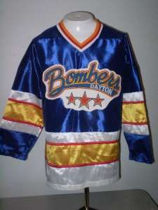 vintage adult NWOT Dayton Bombers Hockey Jersey blue satin size small