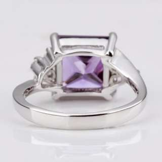 T22 18K white Gold plated purple gem Swarovski crystal Ring size 8