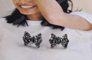 Lovely Cute Rhinestone Crystal Bowknot Bow Tie Earrings Earring
