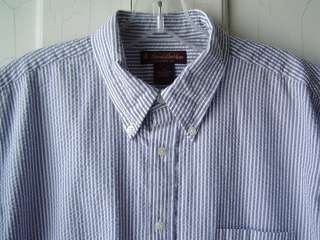 BROOKS BROTHERS Boys SS SHIRT Casual Sz XL BLUE WHite STRIPED