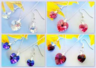 SWAROVSKI CRYSTAL HEARTS SET OF EARRINGS & NECKLACE