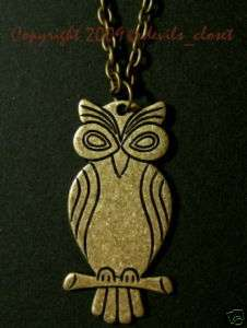 Vintage BIG EYES OWL Antiqued Brass Charm Necklace