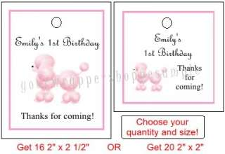 PINK POODLE PARIS Birthday Party Favor Tags Supplies