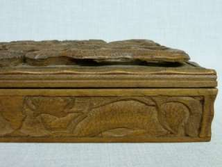 LARGE ANTIQUE SUPERBLY CARVED WOOD CHINESE DRAGON JEWELLERY CIGAR BOX