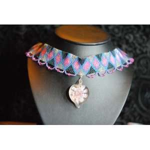 Pink Flower Peyote Stitch Choker: Jewelry