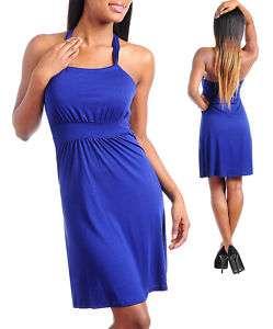 Ladies Royal Blue Summer Halter Dress**Sizes S,M,L
