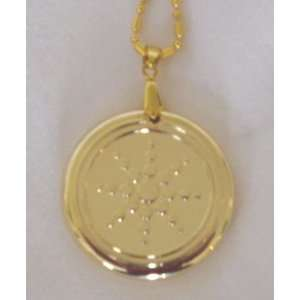 Scalar Energy GOLD TONE Pendant with Chain, Clasp [can be