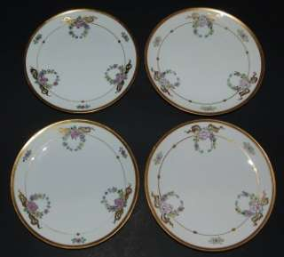 PICKARD Early Studio 4 Dessert Plates Floral Garland Thomas Bavaria