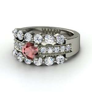 Alexandra Ring, Round Red Garnet 14K White Gold Ring with
