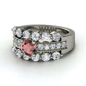 Alexandra Ring, Round Red Garnet 14K White Gold Ring with