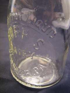 ANTIQUE HALF PINT BUPPS DAIRY BOTTLE HANOVER PA MILK PRESSED CLEAR
