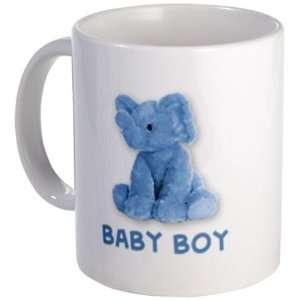 BLUE BABY BOY Elephant Toy on an 11oz Ceramic Coffee Cup Mug Newborn