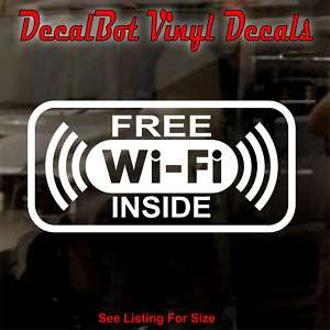 FREE Wi Fi Inside Window Sticker Decal Business Sign