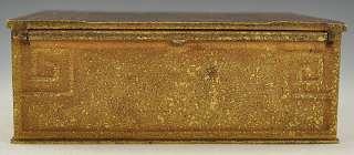Tiffany Studios Bronze/ Brass Hinged Desk Box Greek Key Design