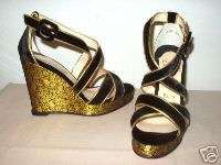 Christian Louboutin VIVA ZEPPA black velvet gold brocade wedge sandals