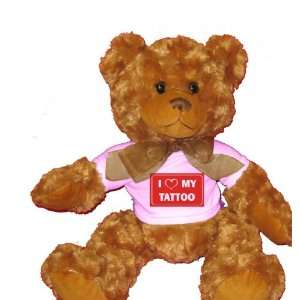 I LOVE MY TATTOO Plush Teddy Bear with WHITE T Shirt Toys